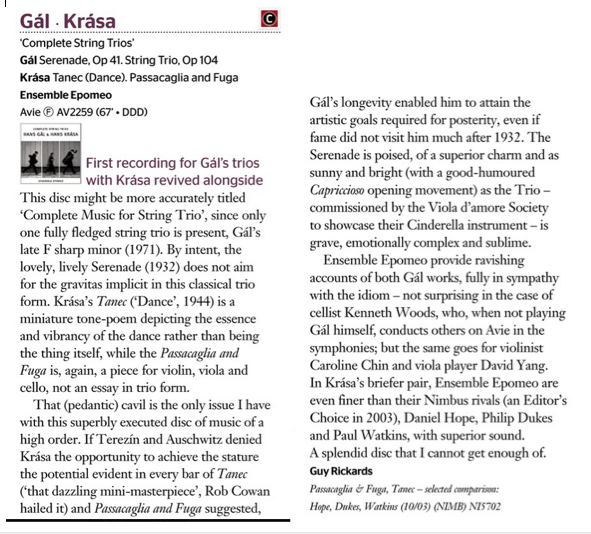 CD Review- Gramophone Magazine on Gal/Krasa Complete String Trios